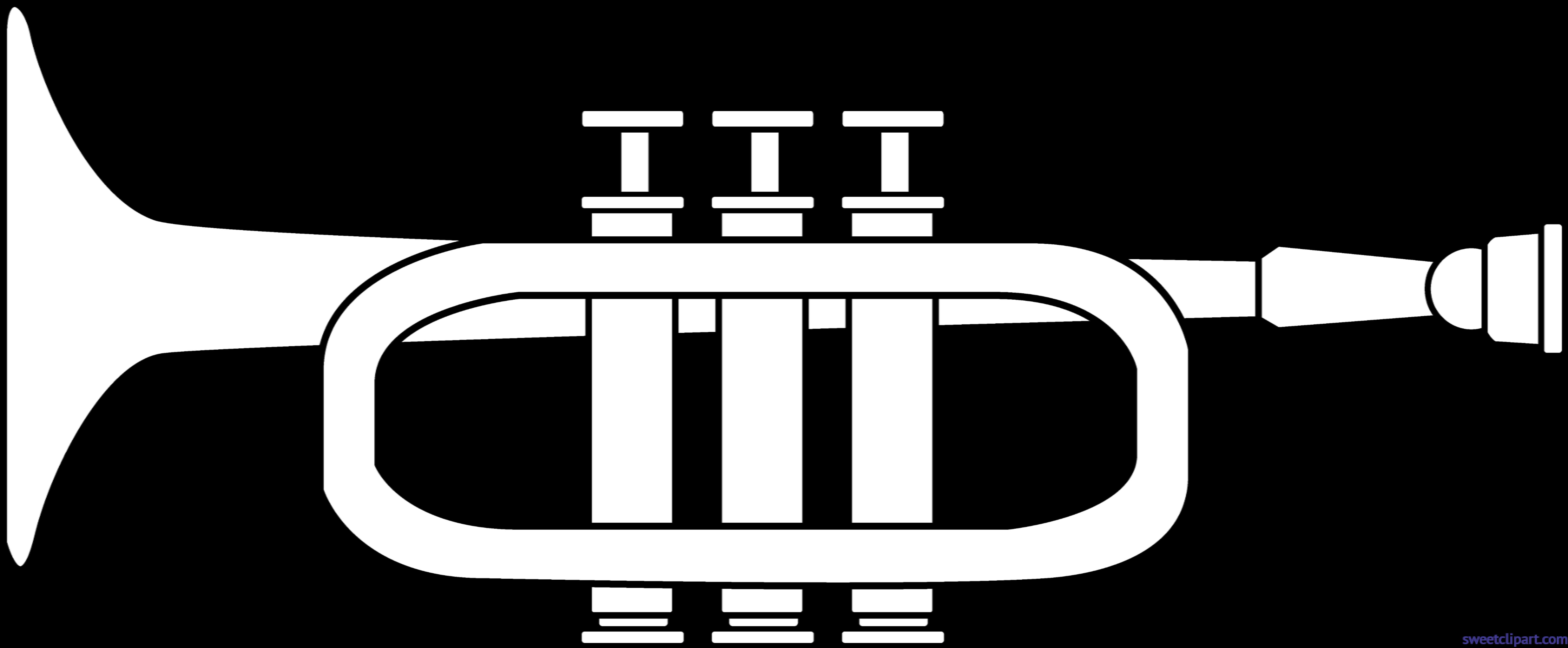 Trumpet lineart clip art. Trombone clipart black and white