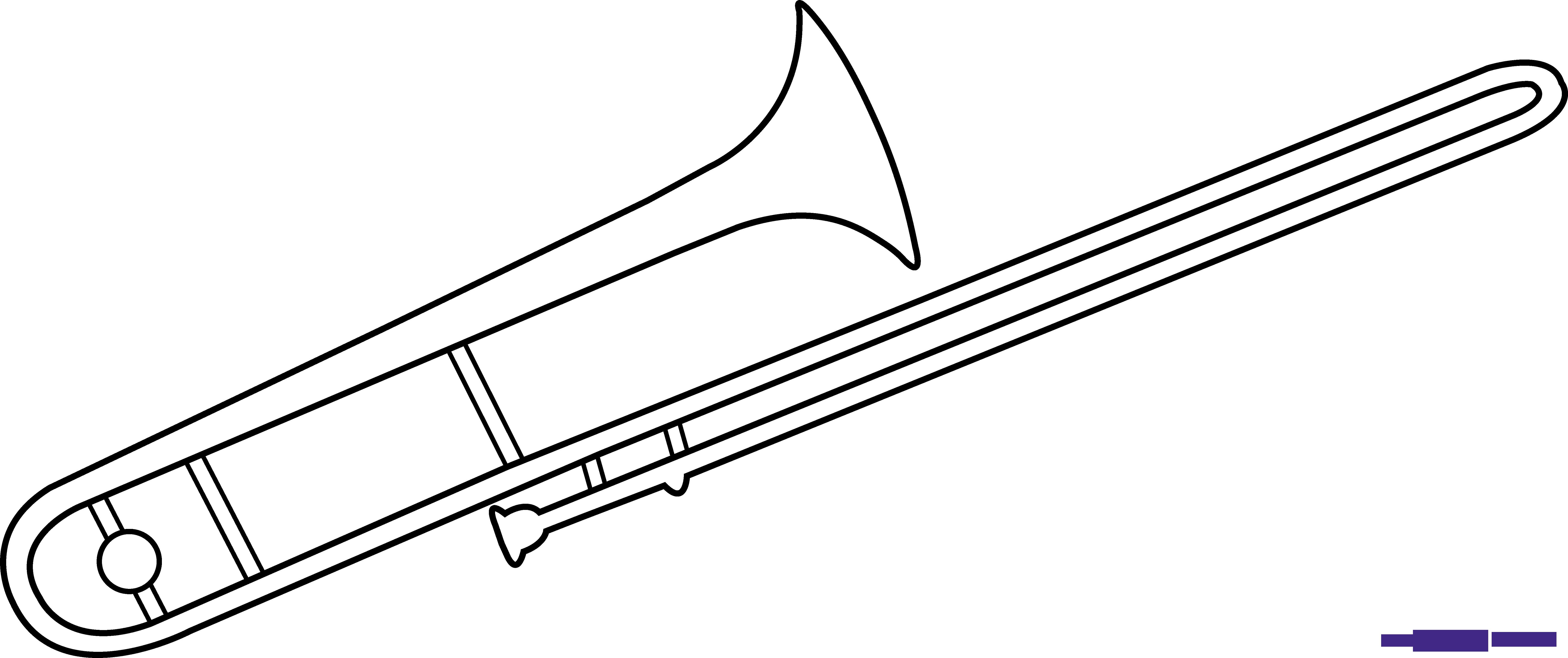Trombone clipart black and white. Line art sweet clip