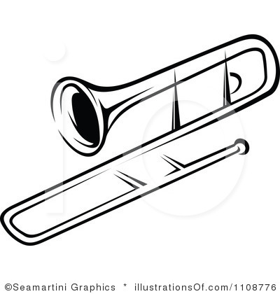 Trombone clipart black and white. Free silhouette cliparts download