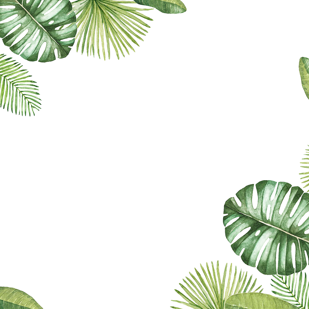 Tropical border png. Leaves frame ftestickers