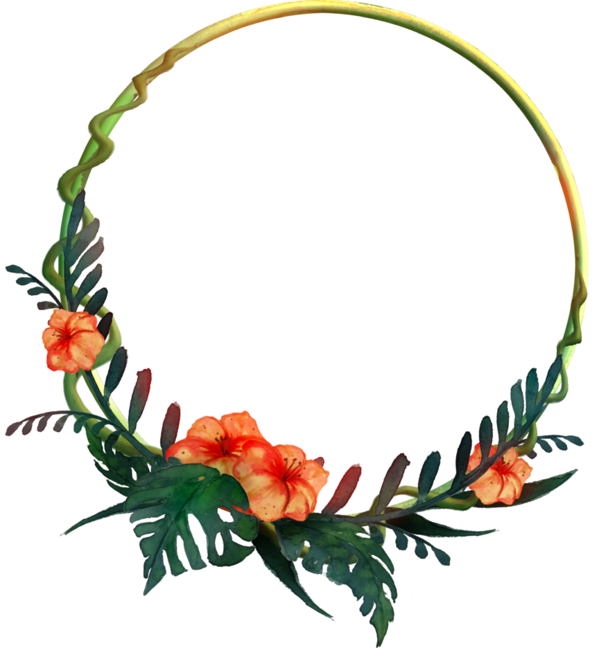 Tropical border png.  round frame by