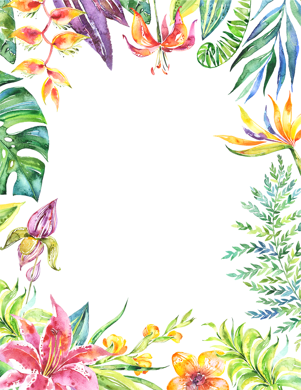 Tropical border png. Leaves flowers plants frame