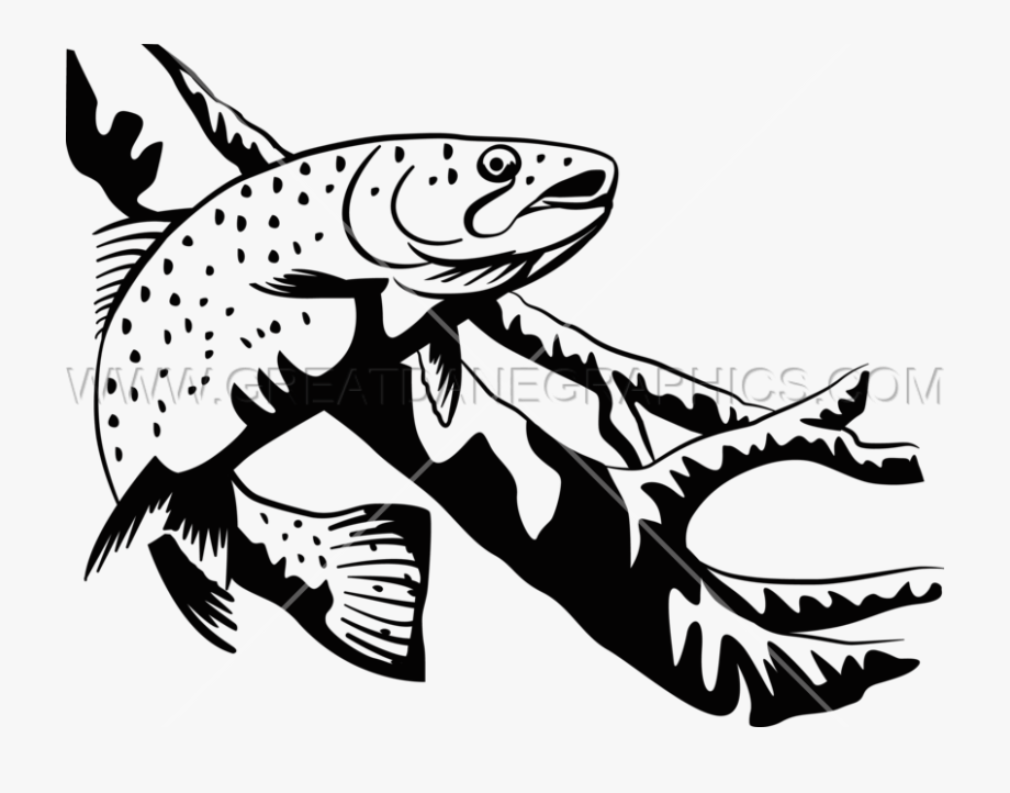 Trout clipart black and white. Transparent techflourish collections drawing