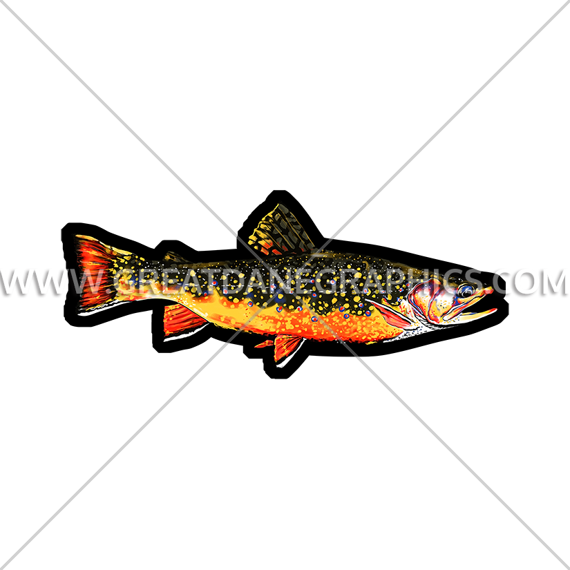 Production ready artwork for. Trout clipart brook trout