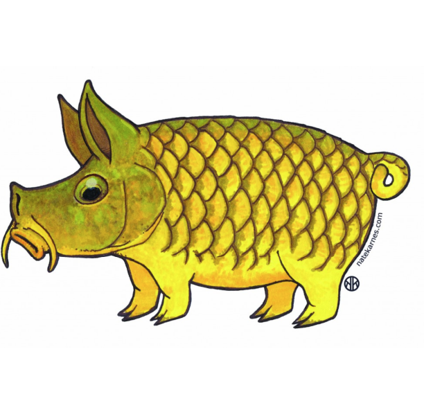 Pig wiked flies custom. Trout clipart carp