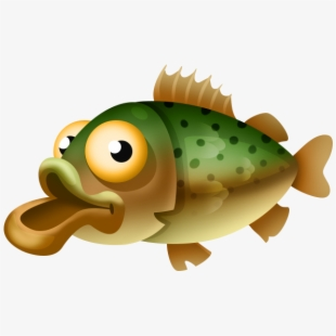 Speckled yellow perch . Trout clipart cartoon