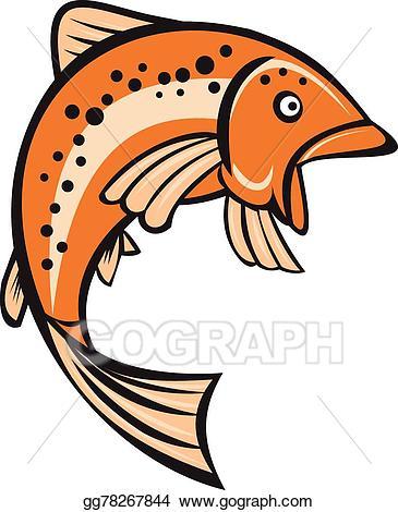 Trout clipart cartoon. Eps vector rainbow fish
