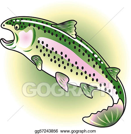 Vector stock rainbow illustration. Trout clipart clip art