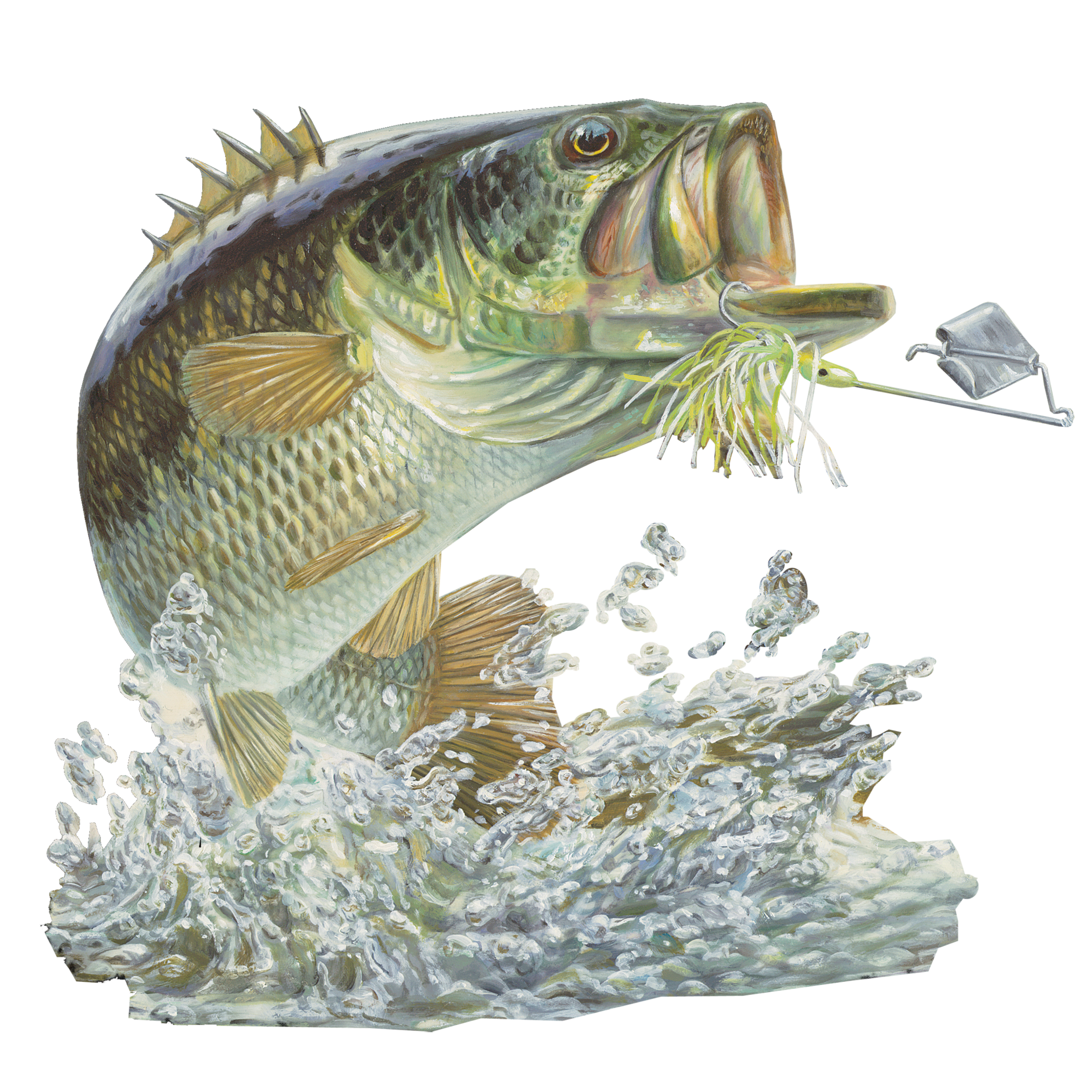 Trout clipart fish gill. Bass fishing sticker buzzbait