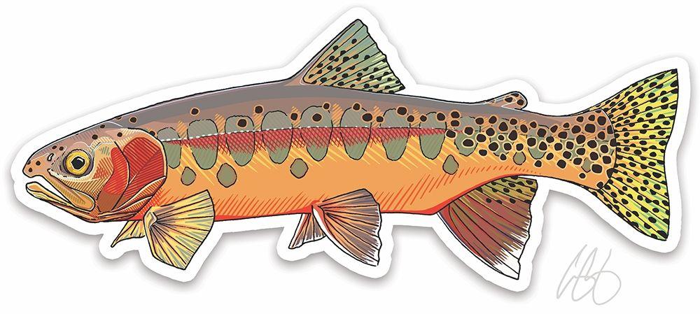 Trout clipart golden trout. Casey underwood art sticker