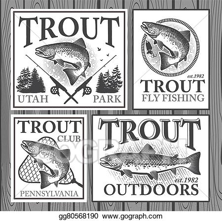 Trout clipart trout fisherman. Vector fishing illustration