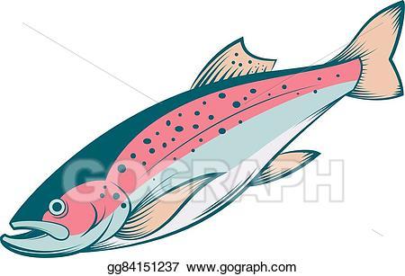 Trout clipart vector. Colourful line illustration