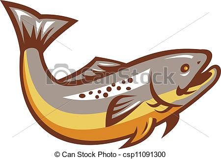 Trout clipart vector. Brown clip art graphics