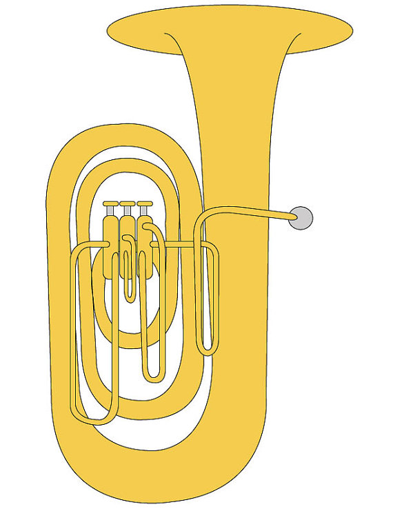 Clip art illustration graphic. Instruments clipart tuba