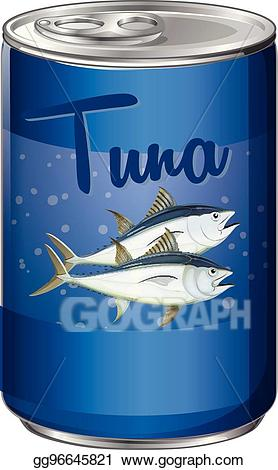Vector illustration canned food. Tuna clipart aluminum
