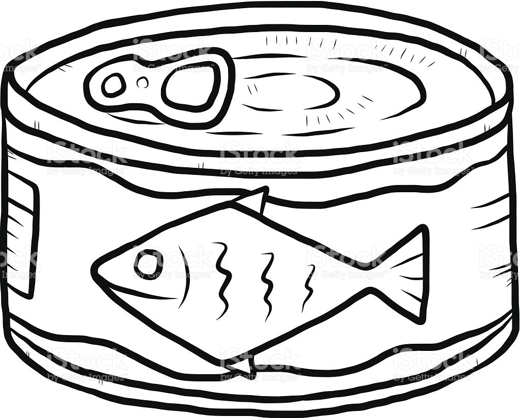 Free canned fish cliparts. Tuna clipart black and white