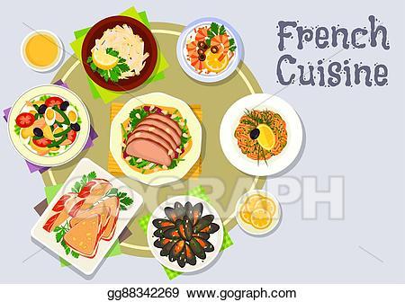 Vector art french cuisine. Tuna clipart dinner