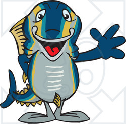 Tuna clipart happy. Of a fish waving