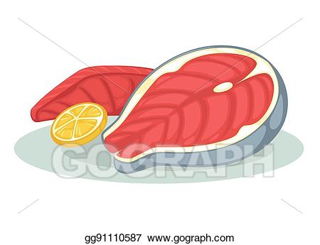 Vector art salmon fillet. Tuna clipart raw fish