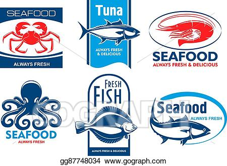 Tuna clipart seafood restaurant. Eps illustration and product