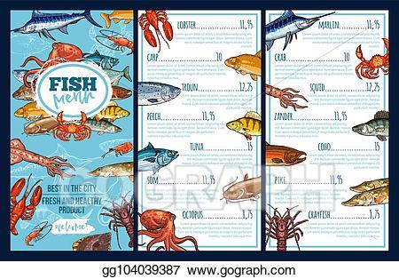 Vector illustration menu template. Tuna clipart seafood restaurant