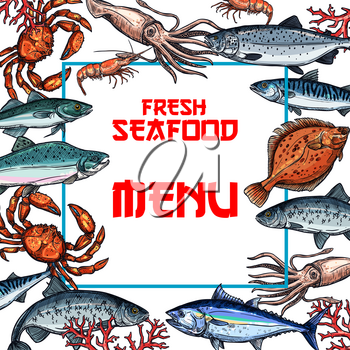 Menu vector template for. Tuna clipart seafood restaurant