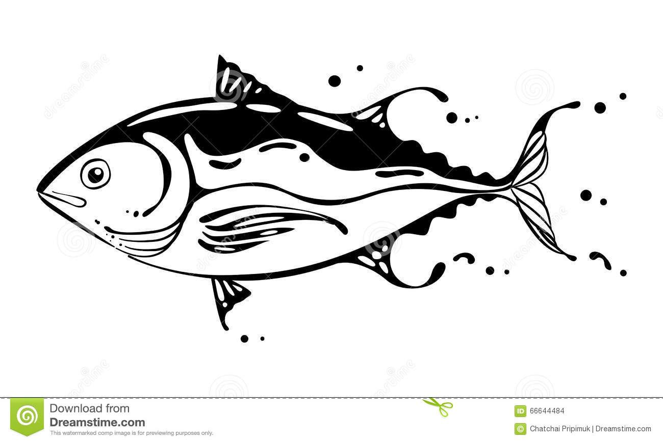 Tuna clipart vector. Drawing fish artwork drawings