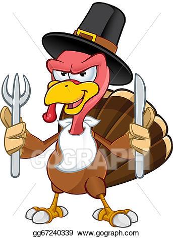 Turkeys clipart knife. Eps vector turkey mascot