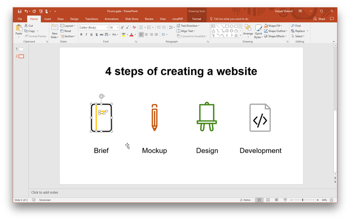Using icons in powerpoint. Turn png into vector