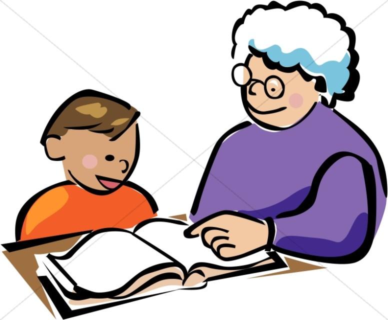 Child and tutor homeschool. Children clipart tutoring