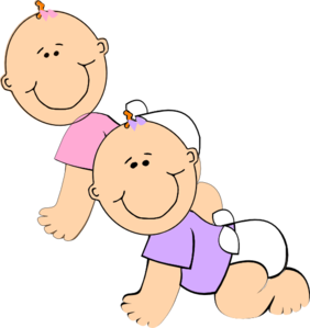 Free twin babies cliparts. Twins clipart girl painting