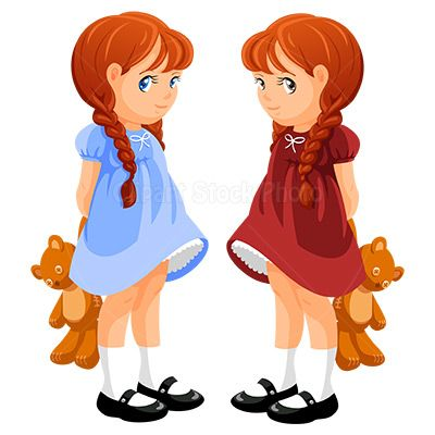 Cute clip art with. Twins clipart girl painting