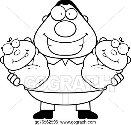 Twins clipart happy. Vector cartoon dad with