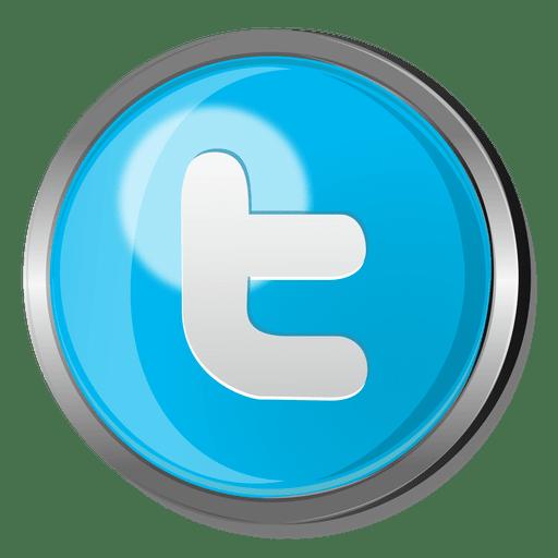 Metallic transparent svg vector. Twitter button png