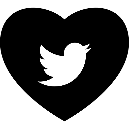 Twitter heart png. With social media logo