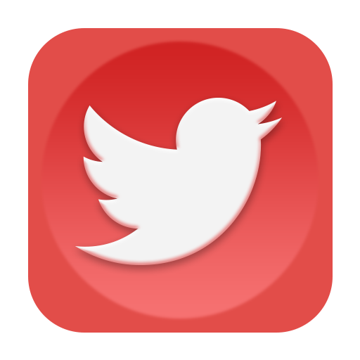 Icon red social media. Twitter icons png