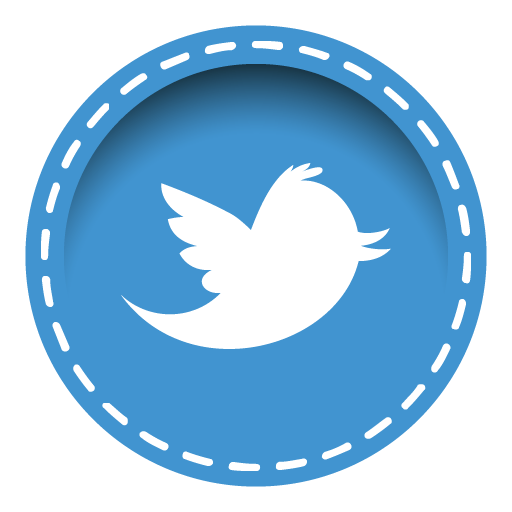 Icon stitched social media. Twitter symbol png