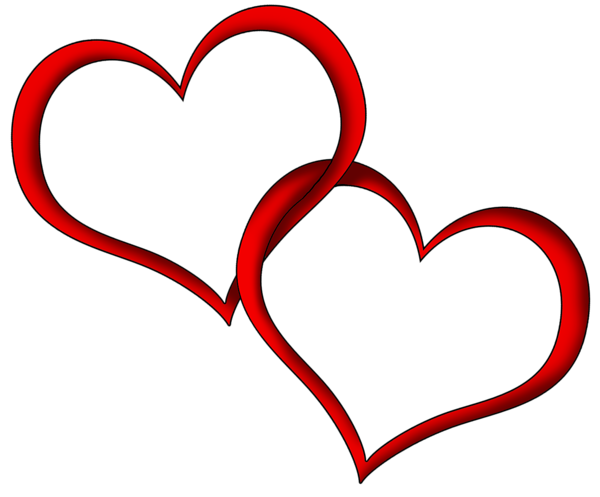 Two hearts png. Transparent red clipart picture