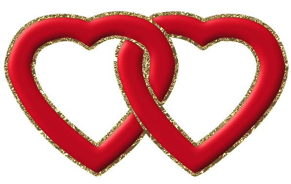 Red frame with gold. Two hearts png