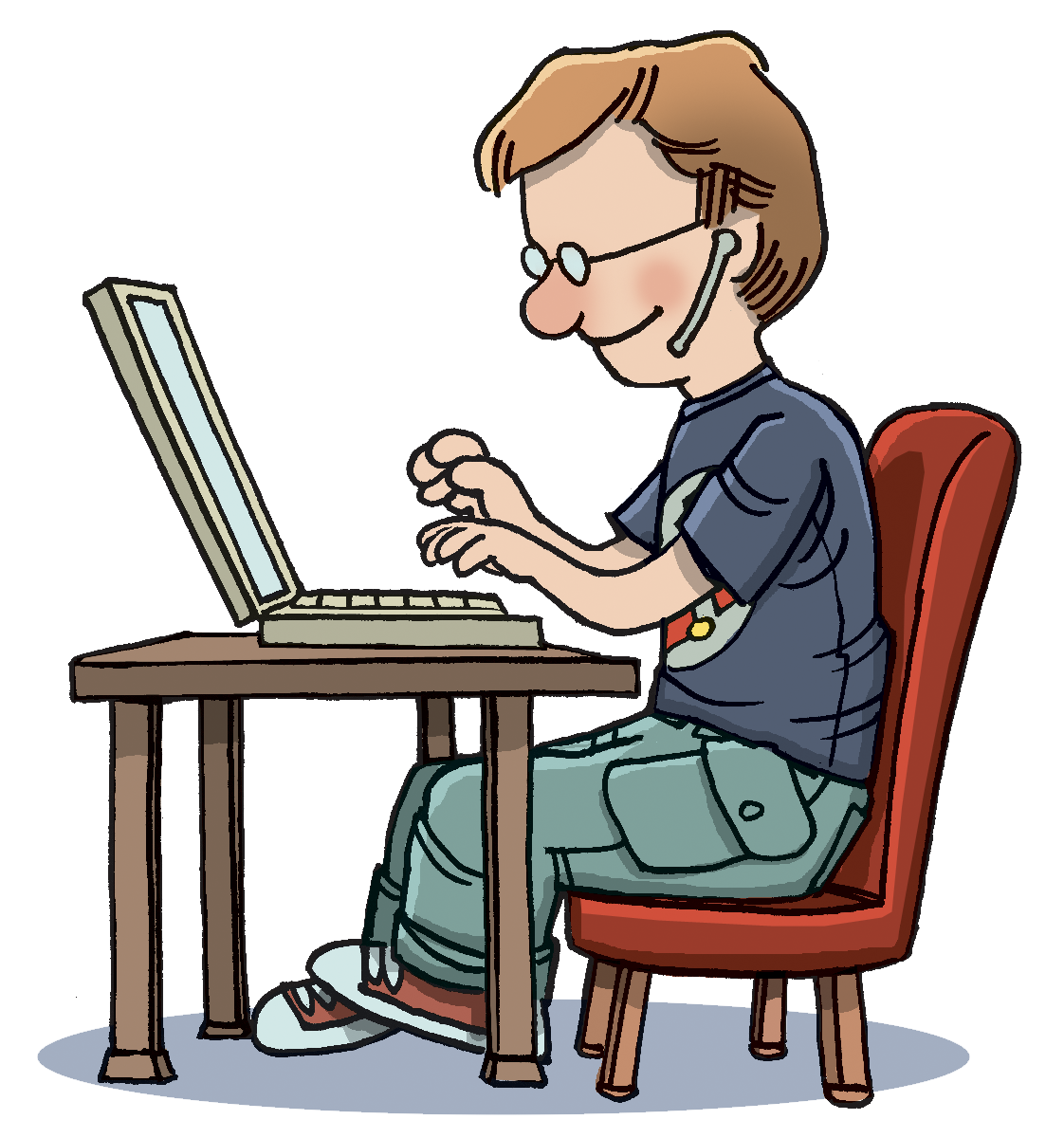 . Engineer clipart typing computer
