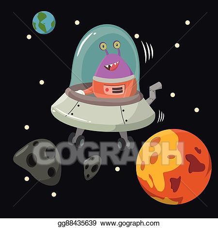 Ufo clipart alien inside. Eps illustration mining asteroid