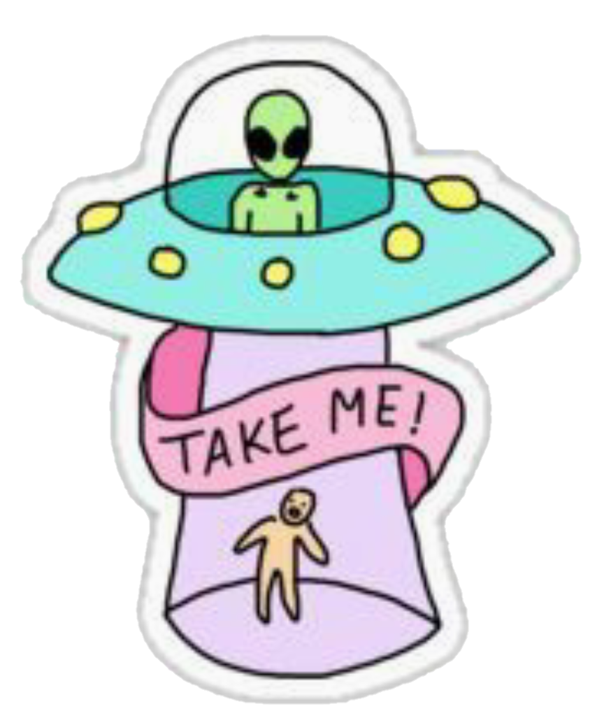 Alien space sticker by. Ufo clipart colorful