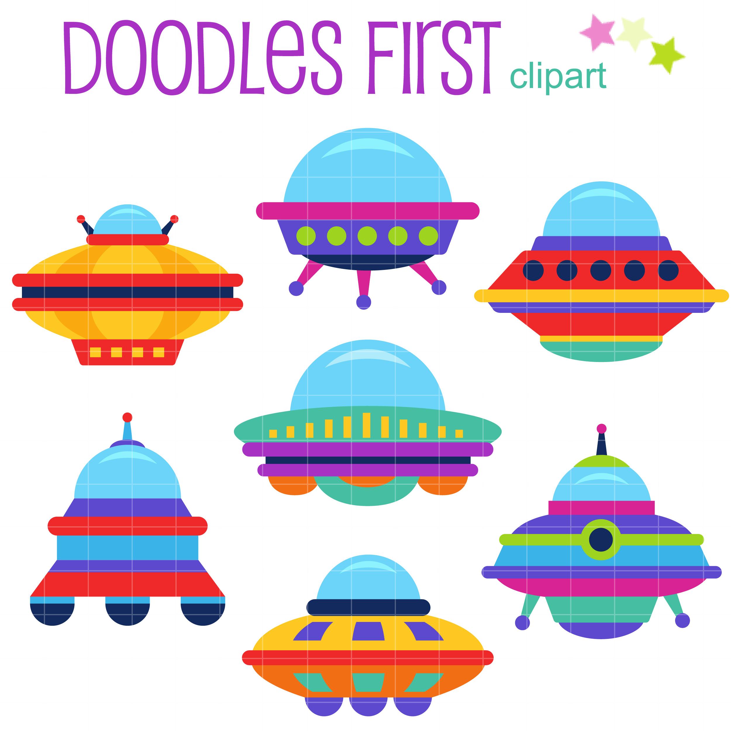 Clip art set . Ufo clipart colorful