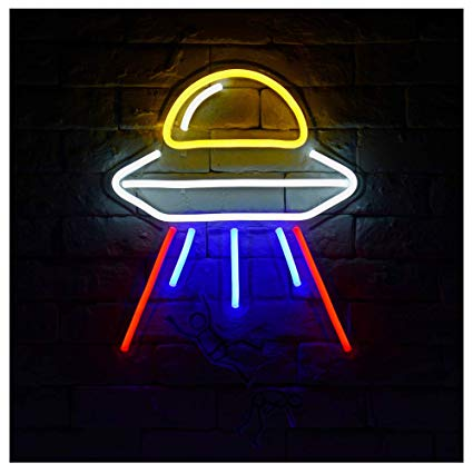 Ufo clipart neon. Alien spaceship a led