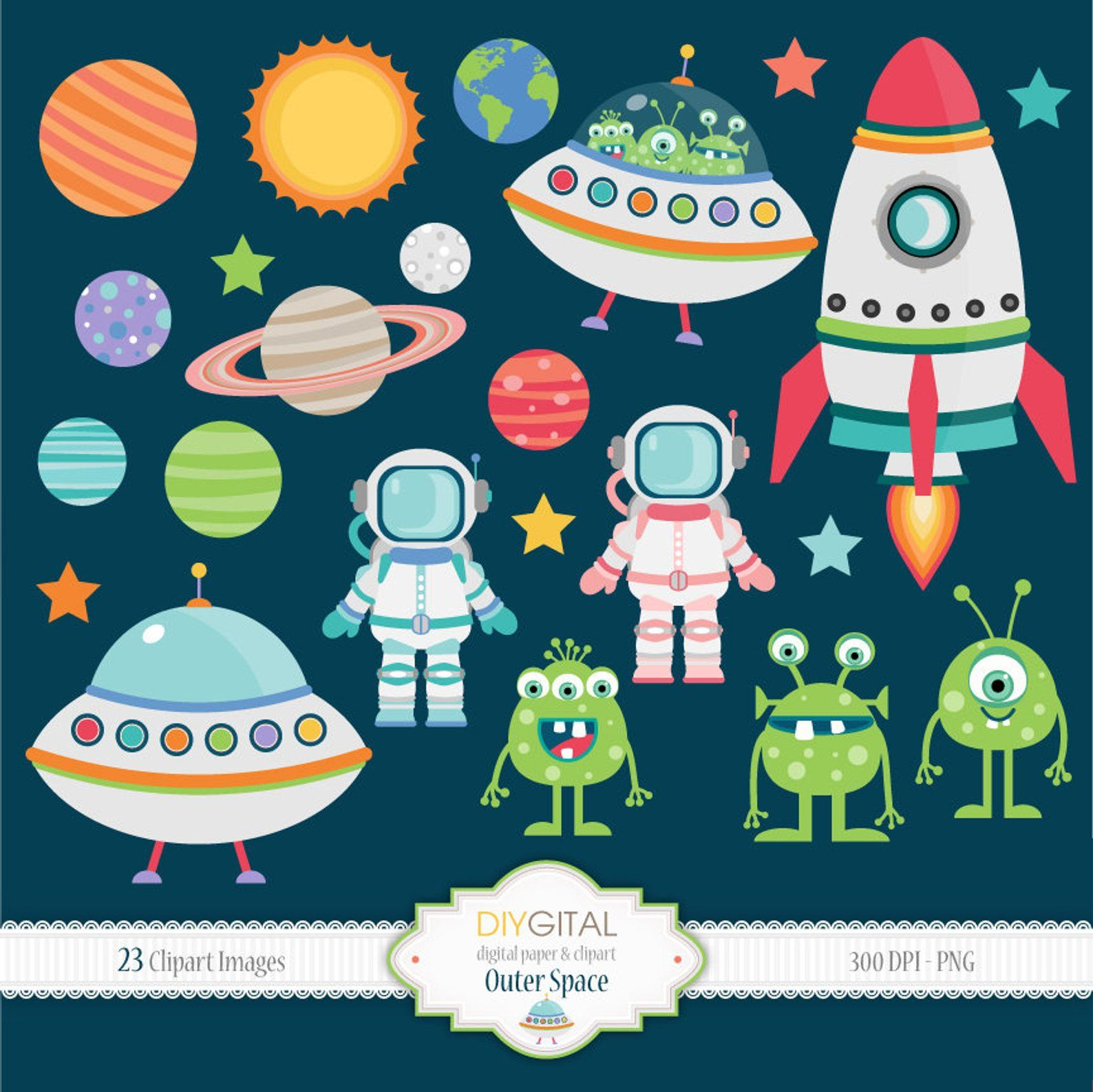Set png images planets. Ufo clipart outer space