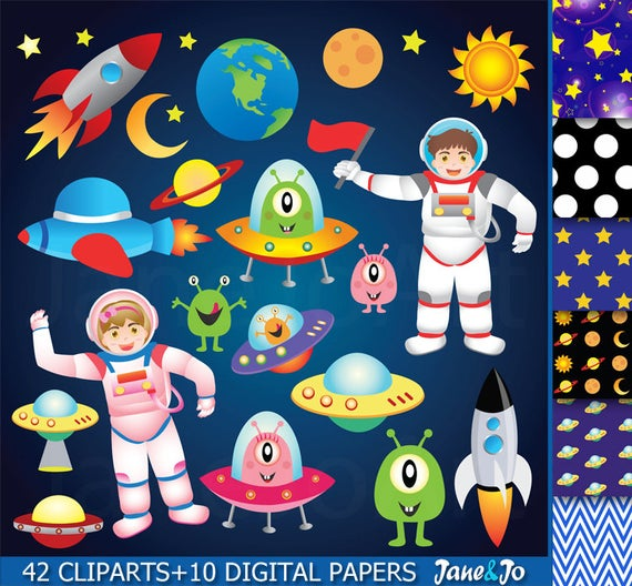 Ufo clipart outer space.  astronauts clip art