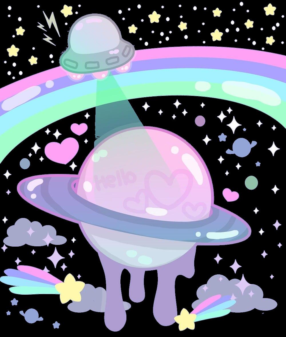 Ufo clipart rainbow. Tumblr art planet planets