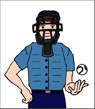 Umpire clipart. Clip art baseball color