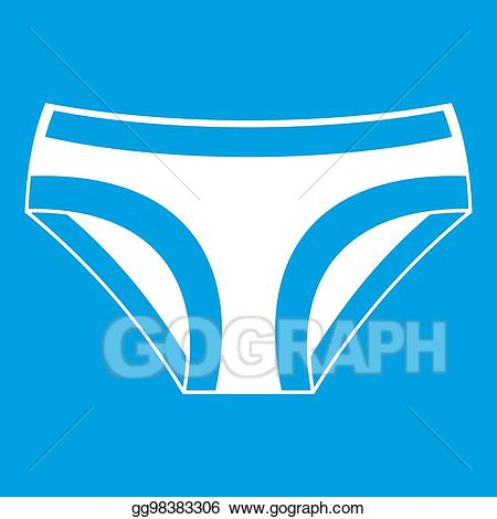 Female icon white stock. Underwear clipart blue