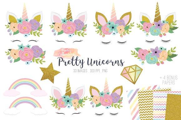 Pretty illustrations creative market. Unicorn clipart